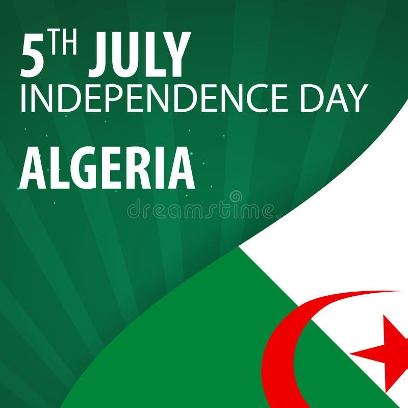 Día de la Independencia de Argelia Bandera y bandera patriótica Ilustración del vector ilustración del vector
