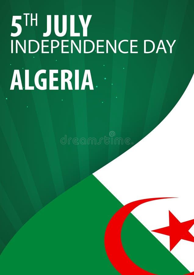 Día de la Independencia de Argelia Bandera y bandera patriótica Ilustración del vector stock de ilustración