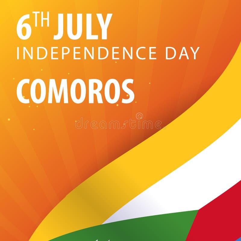 Día de la Independencia de los Comoro Bandera y bandera patriótica Ilustración del vector ilustración del vector