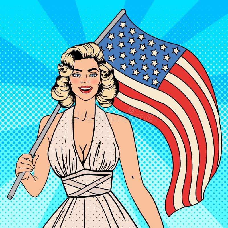 Día de la Independencia de los E Mujer hermosa con la bandera americana Arte pop libre illustration