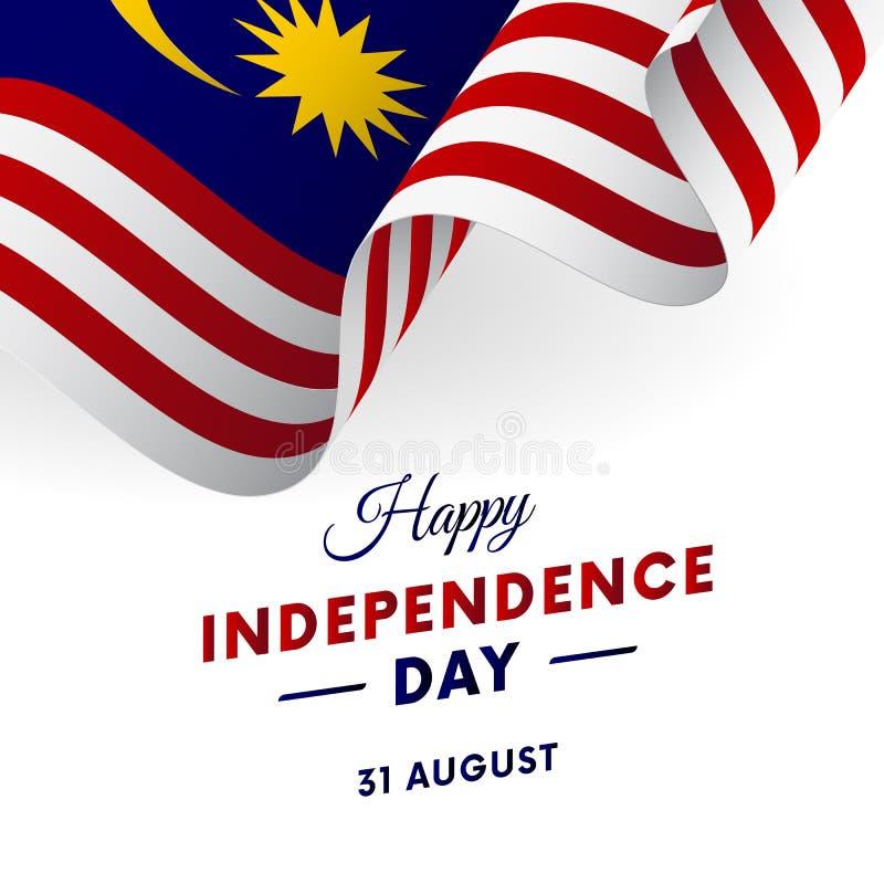 Día de la Independencia de Malasia 31 de agosto bandera que agita Vector stock de ilustración
