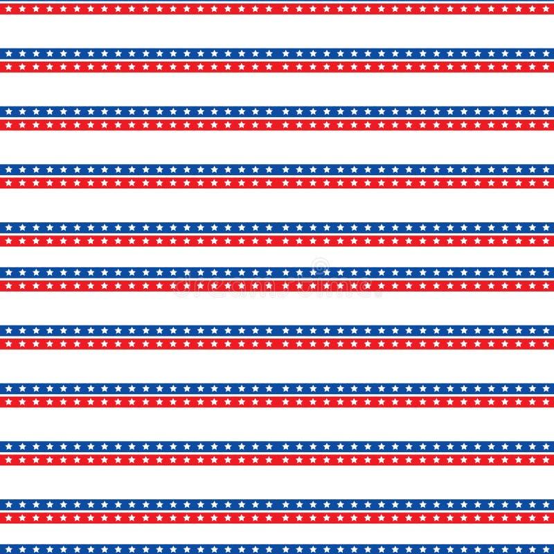 Día de la Independencia de modelo inconsútil de América 4 de julio fondo sin fin Festividad nacional de los E.E.U.U. que repite t stock de ilustración