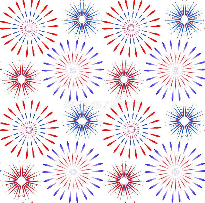 Día de la Independencia de modelo inconsútil de América 4 de julio un fondo sin fin Festividad nacional de los E.E.U.U. que repit stock de ilustración