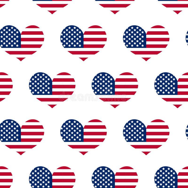 Día de la Independencia de modelo inconsútil de América 4 de julio un fondo sin fin Festividad nacional de los E.E.U.U. que repit ilustración del vector