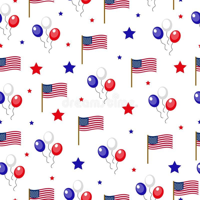 Día de la Independencia de modelo inconsútil de América 4 de julio un fondo sin fin Festividad nacional de los E.E.U.U. que repit libre illustration