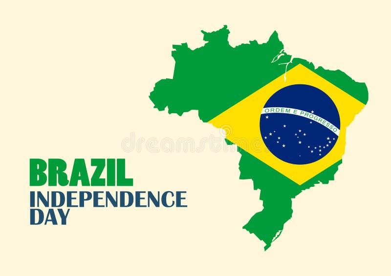 Día de la Independencia del Brasil con el mapa del Brasil stock de ilustración