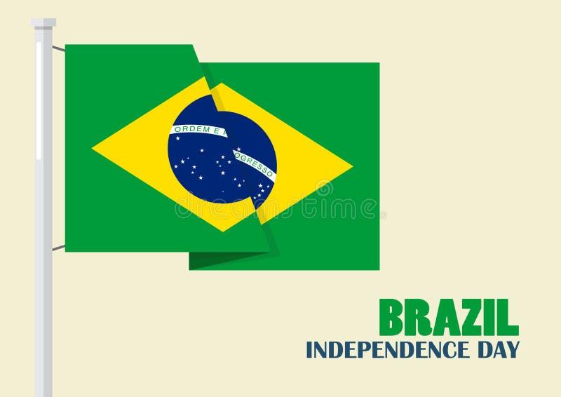 Día de la Independencia del Brasil con la bandera del Brasil stock de ilustración