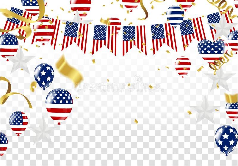 Día de la Independencia del diseño de la plantilla de la bandera de la exportación de los E.E.U.U. ilustración del vector