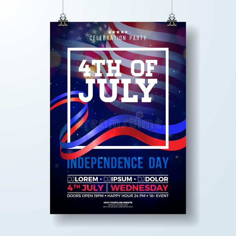 Día de la Independencia del ejemplo del aviador del partido de los E.E.U.U. con la bandera y la cinta Vector el cuarto del diseño libre illustration
