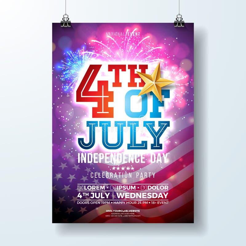 Día de la Independencia del ejemplo del aviador del partido de los E.E.U.U. con la estrella de la bandera y del oro Vector el cua ilustración del vector