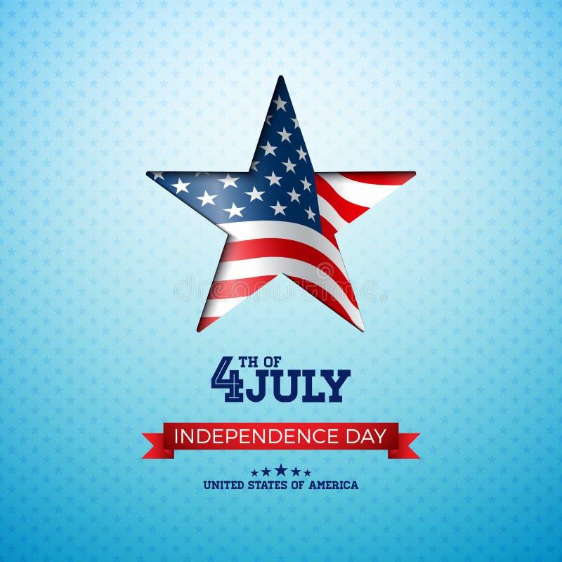 Día de la Independencia del ejemplo del vector de los E.E.U.U. con la bandera en estrella del corte Cuarto del diseño de julio en ilustración del vector