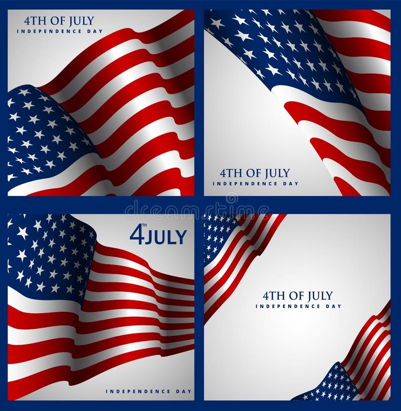 Día de la Independencia del fondo del vector de los E.E.U.U. Cuarto del ejemplo de julio ilustración del vector
