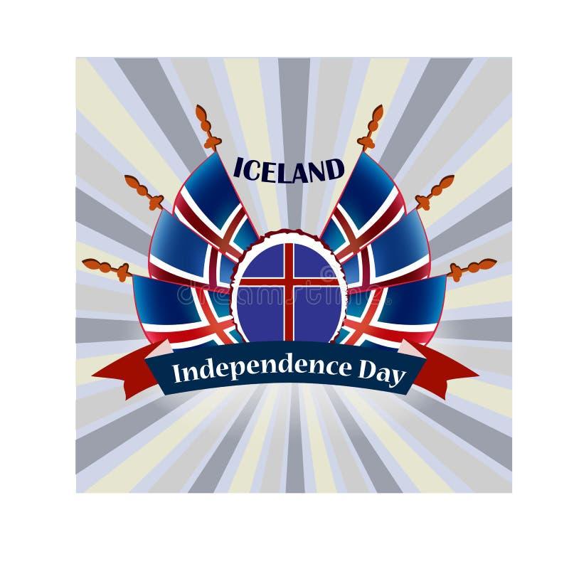 Día de la Independencia del islandés, ejemplo con las banderas nacionales libre illustration