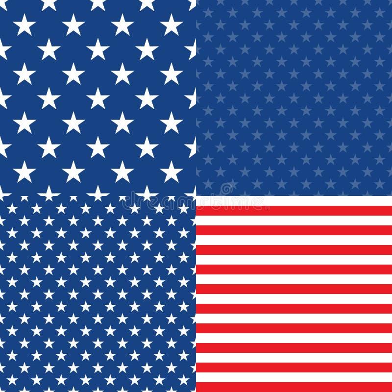 Día de la Independencia en los E.E.U.U. Conjunto de 4 modelos inconsútiles libre illustration