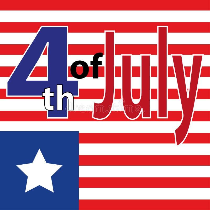 Día de la Independencia feliz de los E.E.U.U. Cuarto del cartel de julio 4 de julio bandera Etiqueta de julio del cuarto Letras d libre illustration