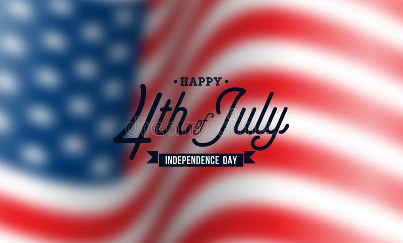 Día de la Independencia feliz del fondo del vector de los E.E.U.U. Cuarto del ejemplo de julio con diseño borroso de la bandera y stock de ilustración