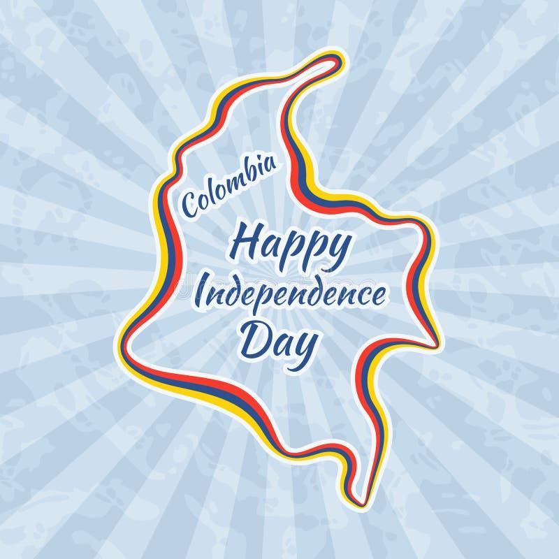 Día De La Independencia Feliz En Colombia Ilustración del Vector ...