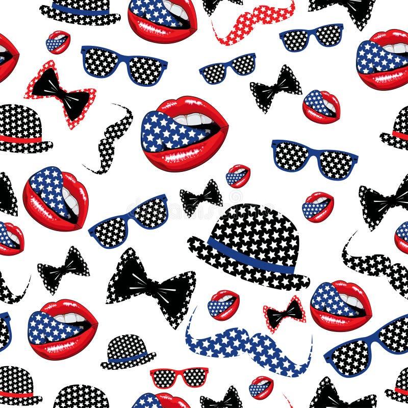Día de la Independencia feliz Estados Unidos inconsútiles de ilustración del vector