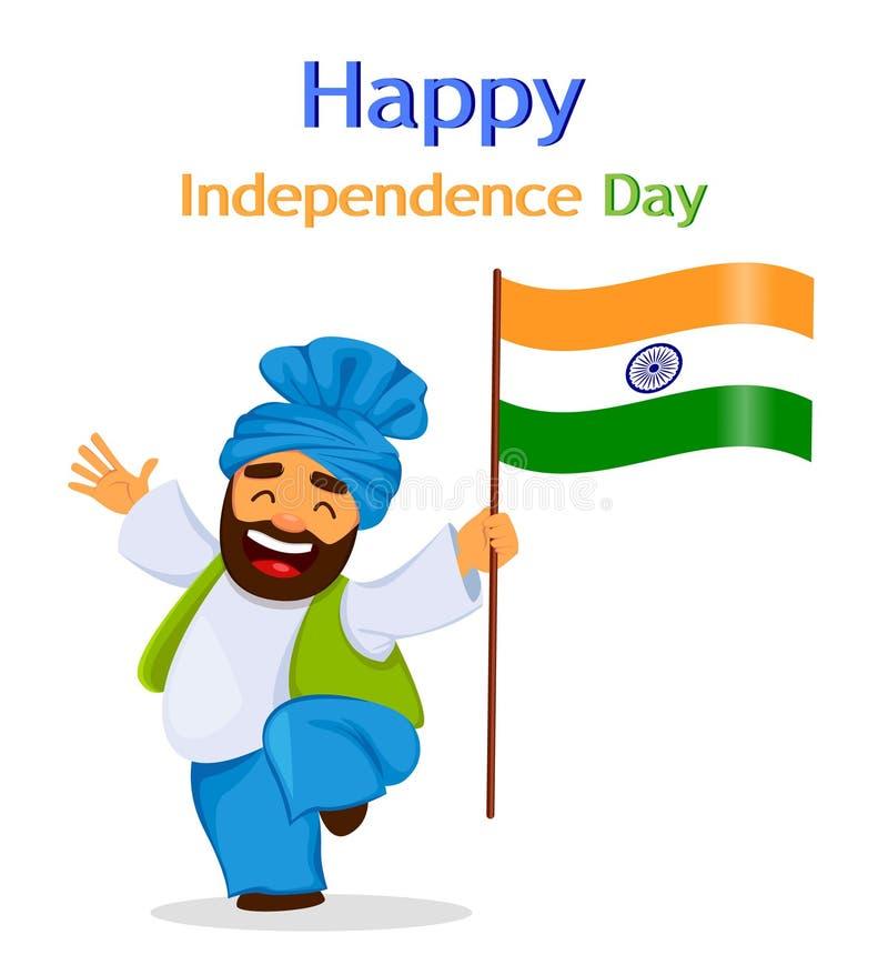 Día de la Independencia feliz la India Tarjeta, aviador o cartel de felicitación ilustración del vector