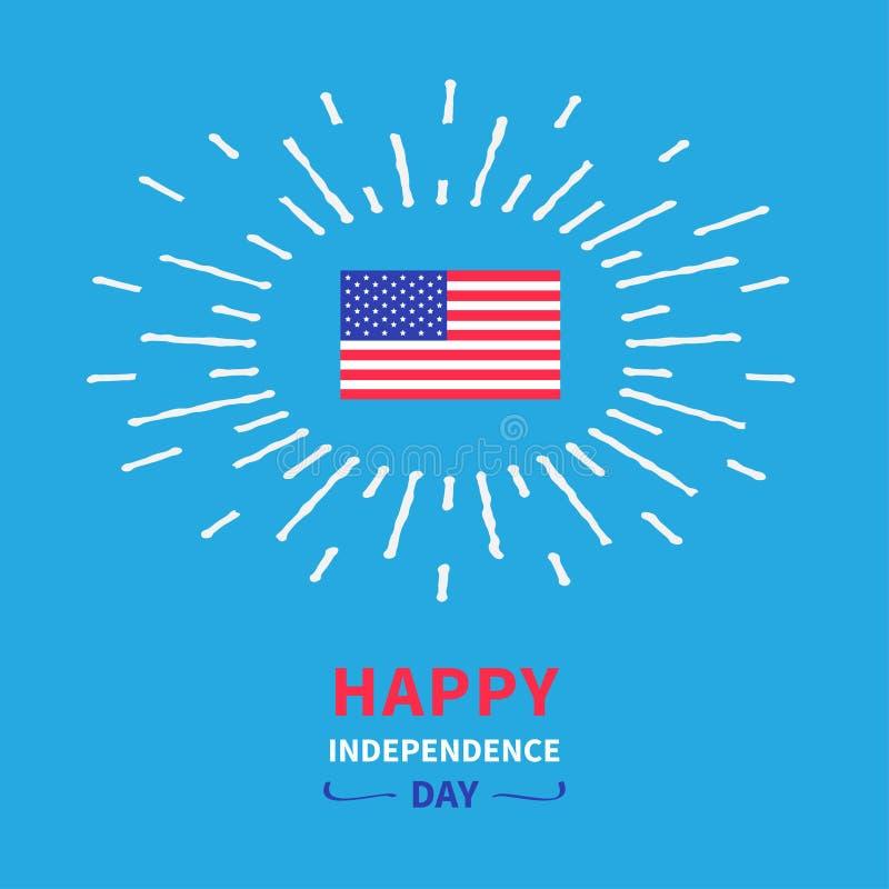 Día de la Independencia feliz los Estados Unidos de América del efecto brillante de la bandera el 4 de julio Diseño plano de la t stock de ilustración