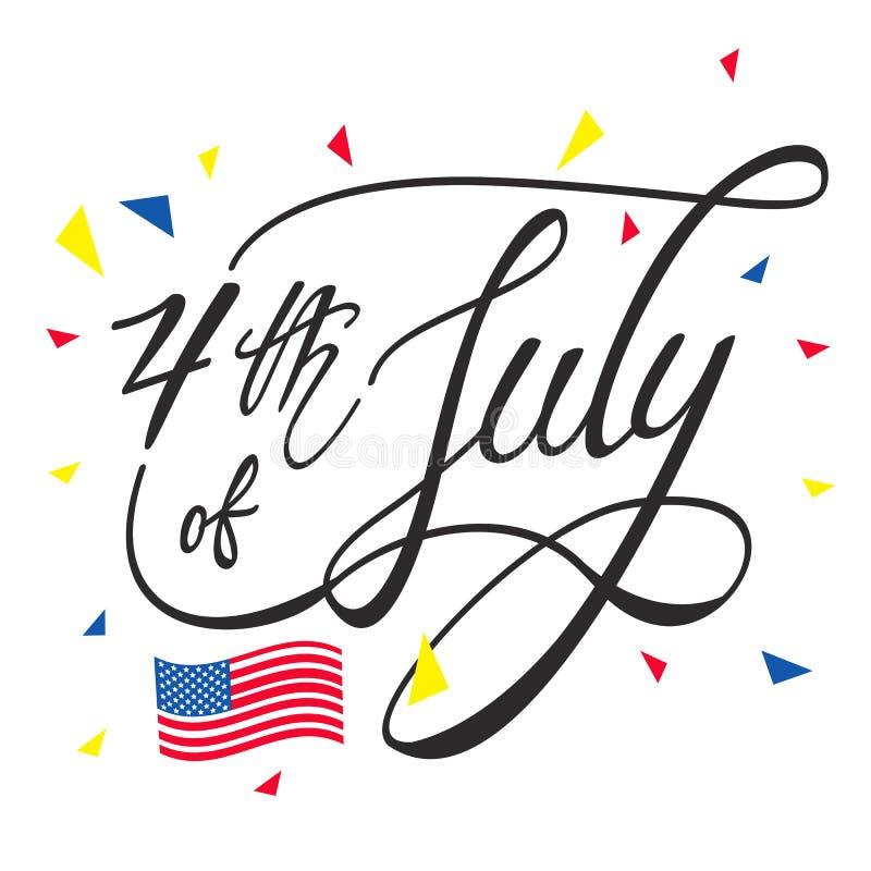 Día de la Independencia feliz o 4to del fondo del vector de julio o del gráfico de la bandera stock de ilustración