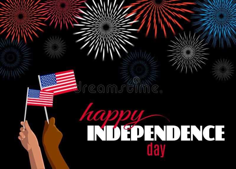 Día de la Independencia feliz 4to de cartel de julio, de cartel o de tarjeta de felicitación ilustración del vector