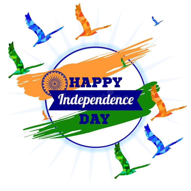 Día de la Independencia de la India Bandera nacional tricolora de la India Ashoka Chakra Ilustración del vector imagenes de archivo