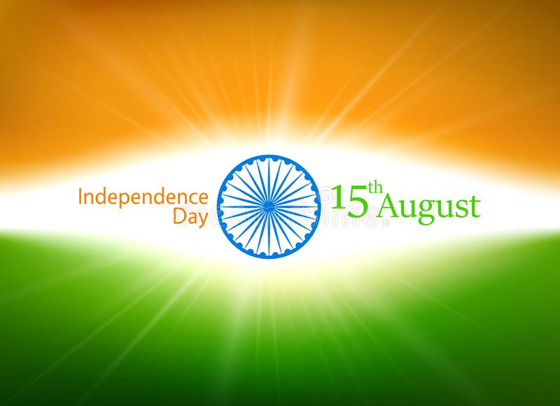 Día de la Independencia de la India décimo quinto August Card en colores del nationa stock de ilustración