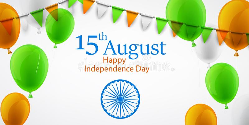 Día de la Independencia de la India décimo quinto August Card en colores del nationa ilustración del vector