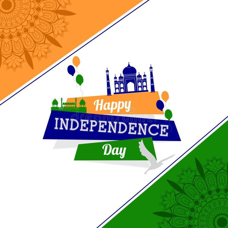 Día de la Independencia de la India La India tricolora Taj Mahal Puerta de la India Ilustración del vector fotografía de archivo libre de regalías