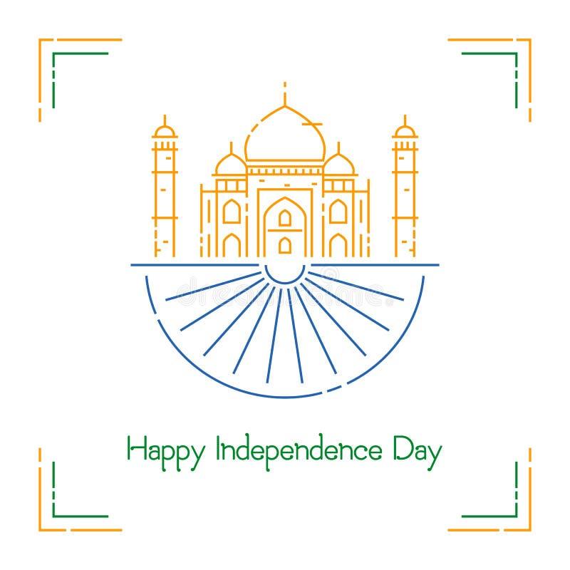 Día de la Independencia indio con colores de la rueda de Ashoka y de la bandera nacional stock de ilustración