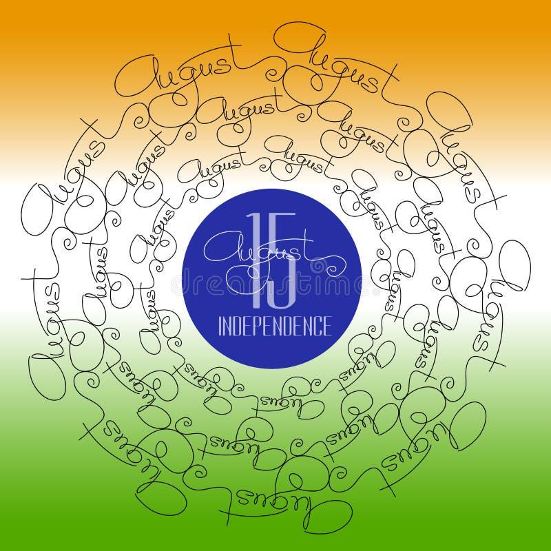 Día de la Independencia indio del cartel ornamental con la mandala ilustración del vector