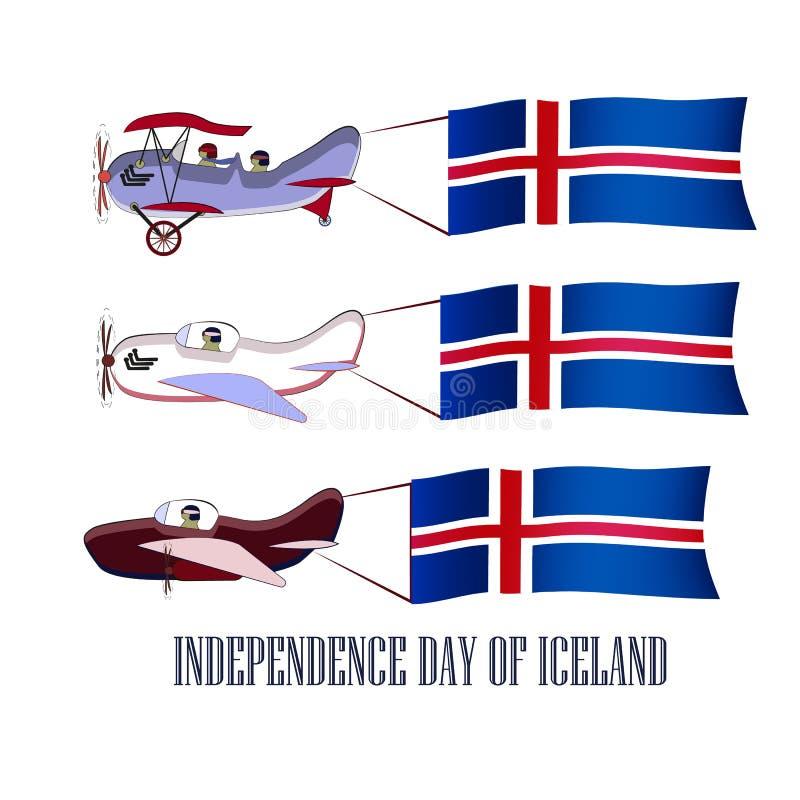 Día de la Independencia de islandés, sistema con tres aviones y banderas nacionales en un fondo aislado ilustración del vector