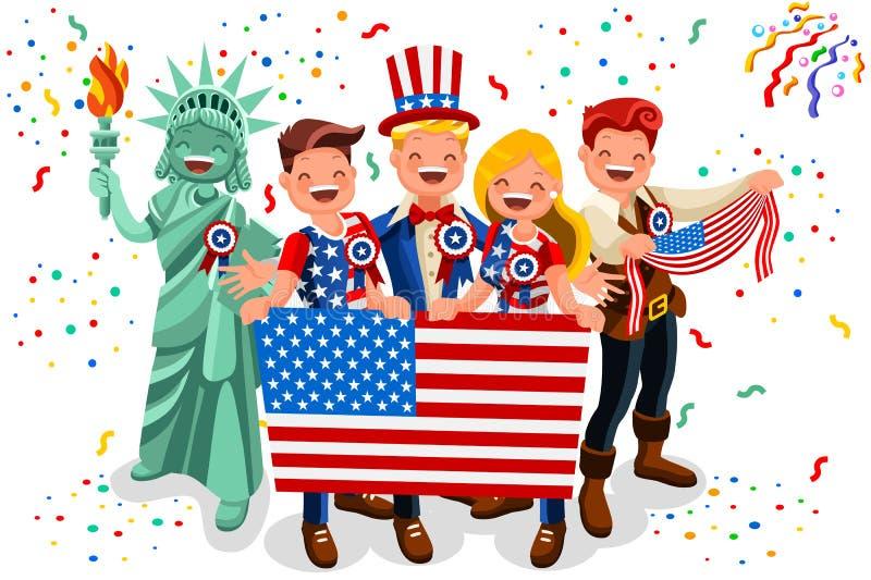 Día de la Independencia los E.E.U.U. 4tos de fondo de la bandera americana del vector de julio stock de ilustración