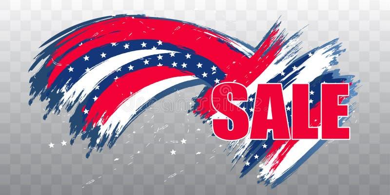 Día de la Independencia los E.E.U.U. venta del 4 de julio Elemento del diseño moderno en fondo transparente Vector ilustración del vector