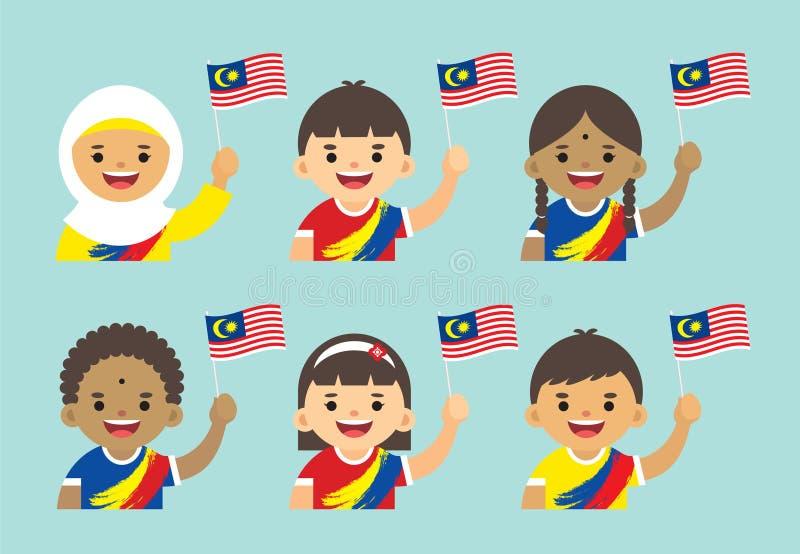 Día de la Independencia de Malasia - bandera malasia de Malasia de la tenencia stock de ilustración