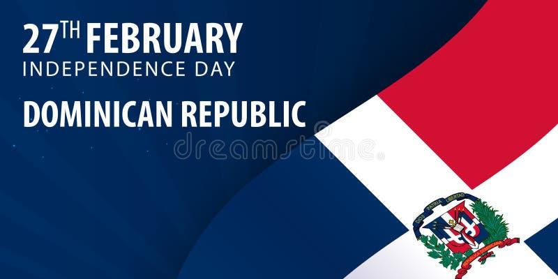 Día de la Independencia de República Dominicana Bandera y bandera patriótica ilustración del vector