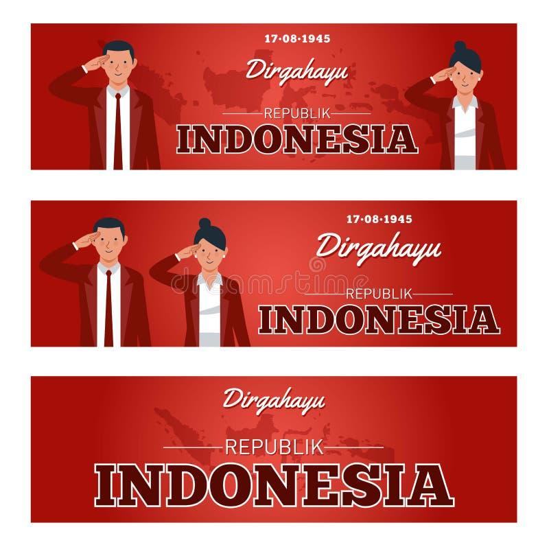 Día de la Independencia de la República de Indonesia ilustración del vector
