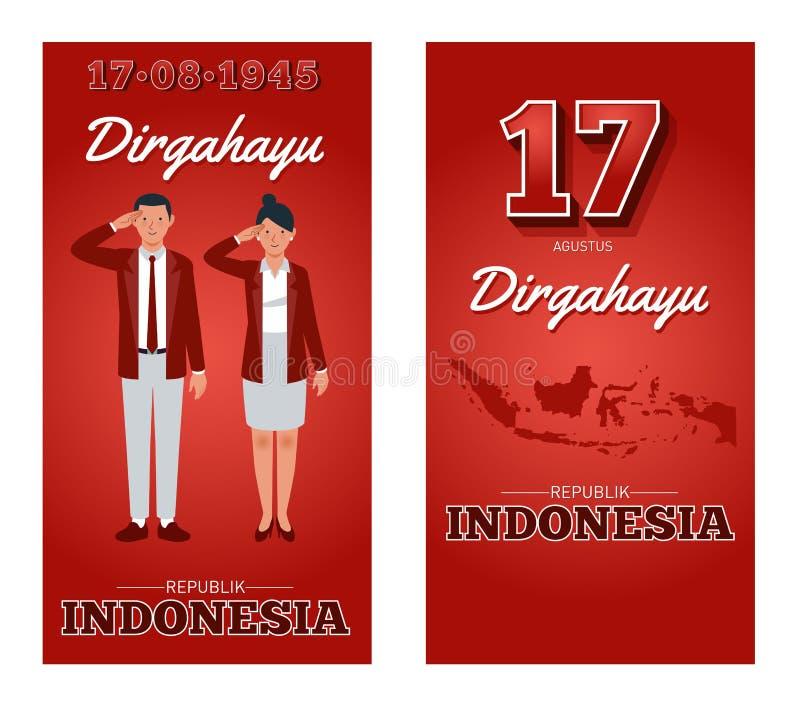 Día de la Independencia de la República de Indonesia stock de ilustración