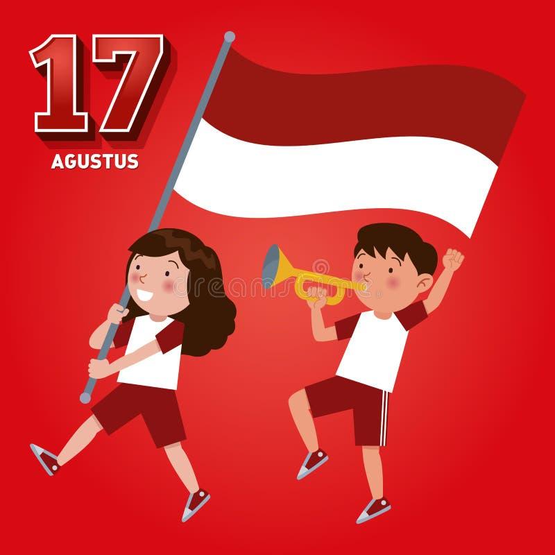 Día de la Independencia de la República de Indonesia el 17 de agosto ilustración del vector
