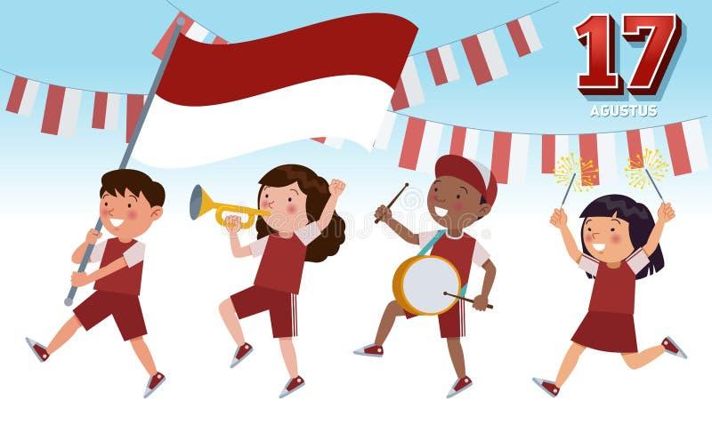 Día de la Independencia de la República de Indonesia el 17 de agosto stock de ilustración