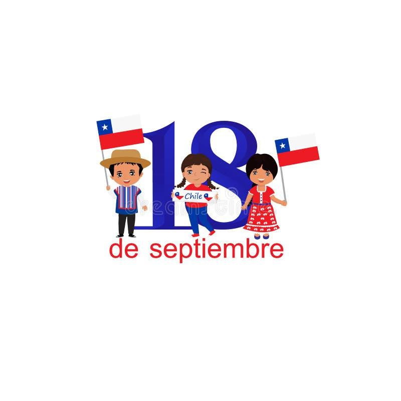 Día De La Independencia De Tarjeta De Felicitación De Chile Texto En Español 18 De Septiembre Concepto De Diseño Stock De Ilustración Ilustración De Glorias Bandera 125637682