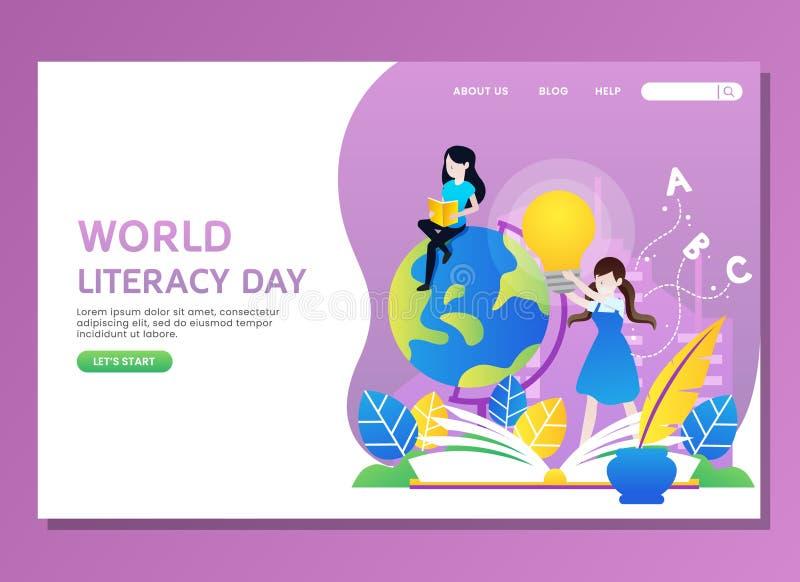 Día de la instrucción del mundo con la lectura de la mujer fotografía de archivo
