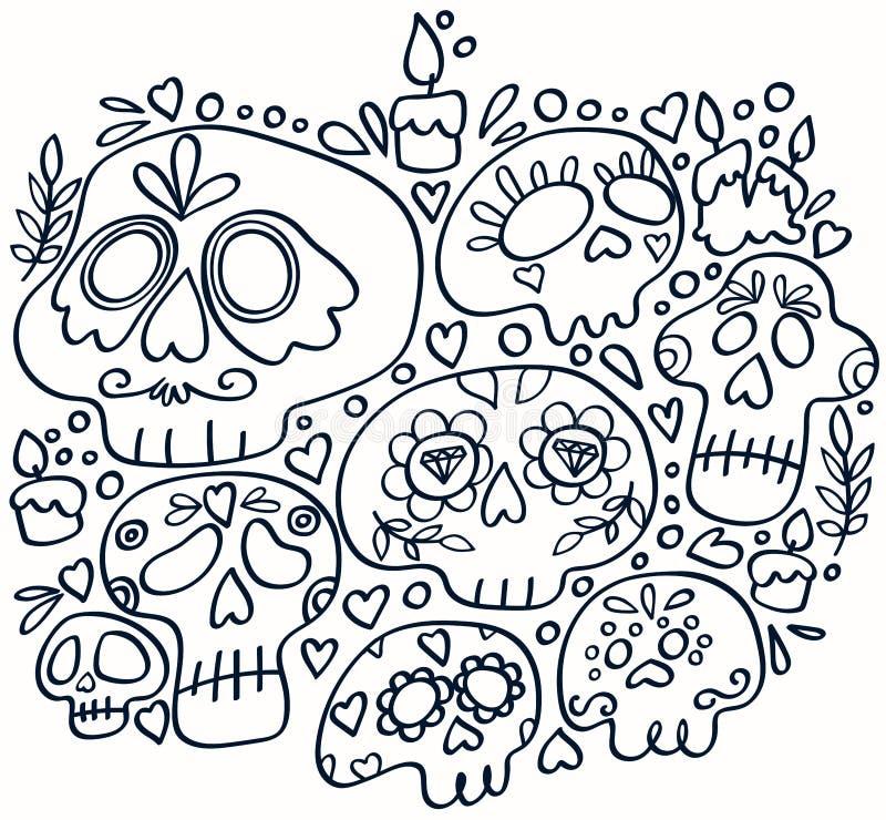 Día de la línea muerta impresión del arte Muerte santa Cr?neos mexicanos del az?car ilustración del vector