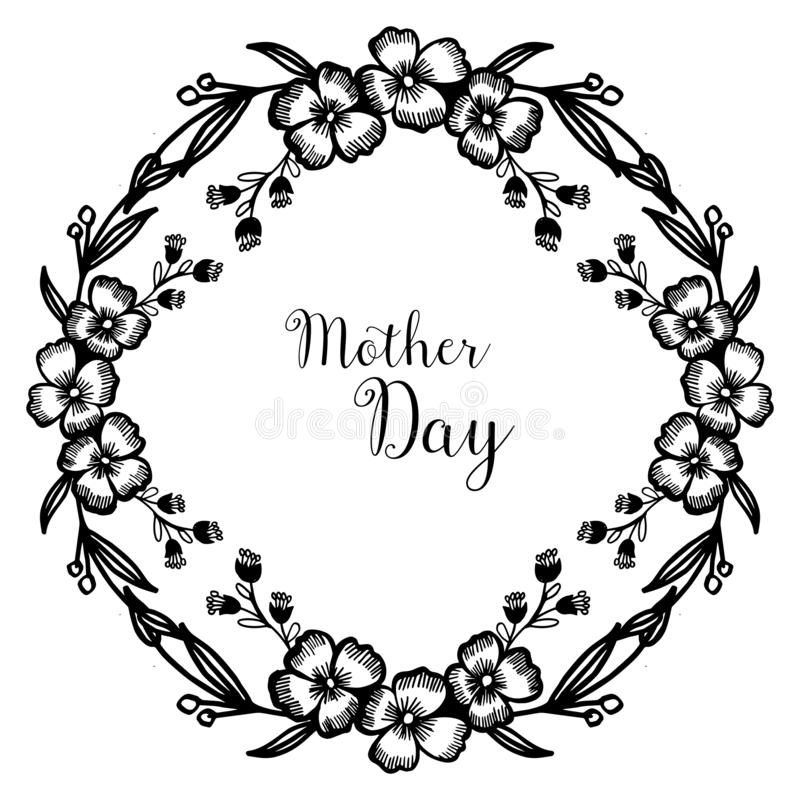 Día de la madre de la celebración, con la forma de la tarjeta de felicitación, marco hermoso de la flor de la textura Vector libre illustration