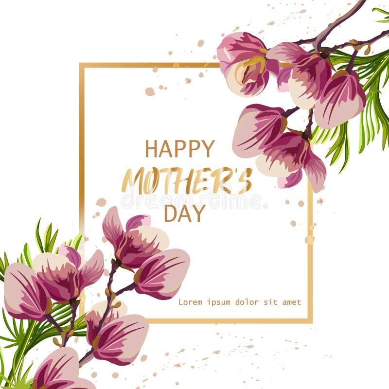 Día de la madre feliz con vector de las flores de la magnolia Plantillas hermosas de la tarjeta stock de ilustración