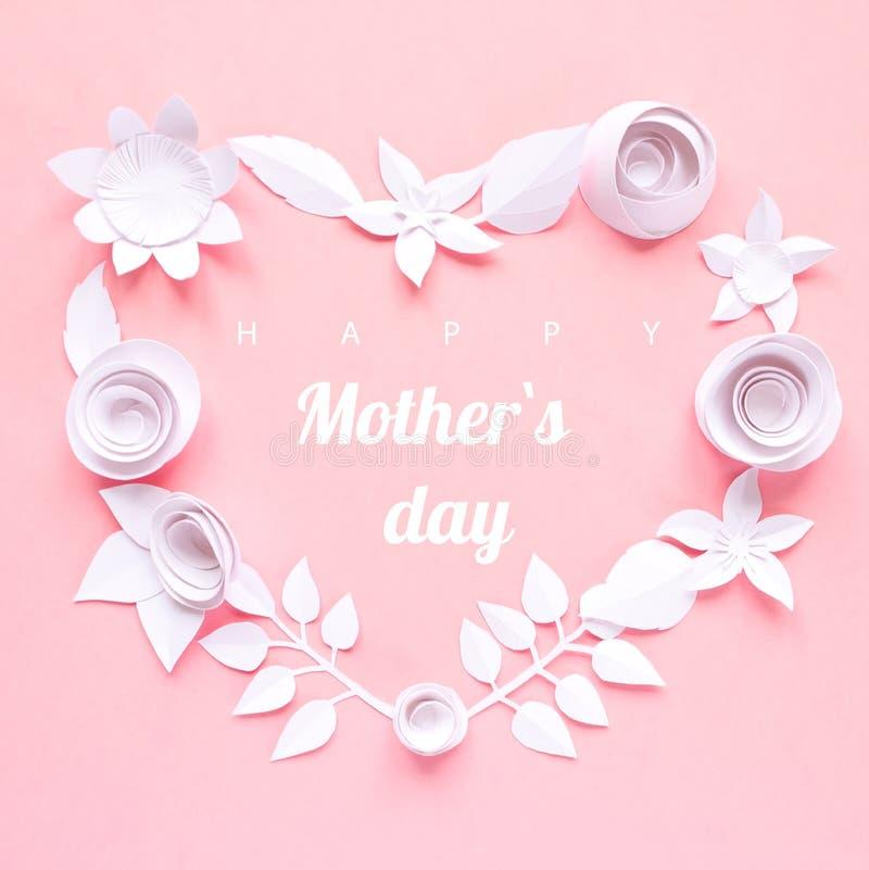 Día de la madre feliz, tarjeta con la flor de papel libre illustration