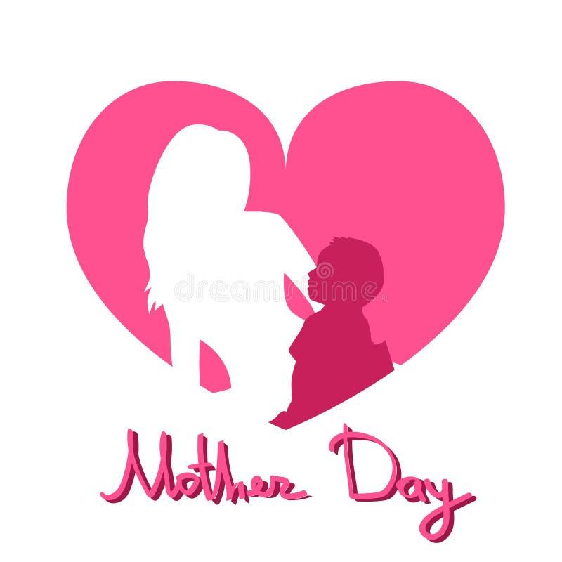 Día de la madre, mujer Sit Embracing Child, fondo de la silueta de la forma del corazón de la tarjeta de felicitación del amor de stock de ilustración
