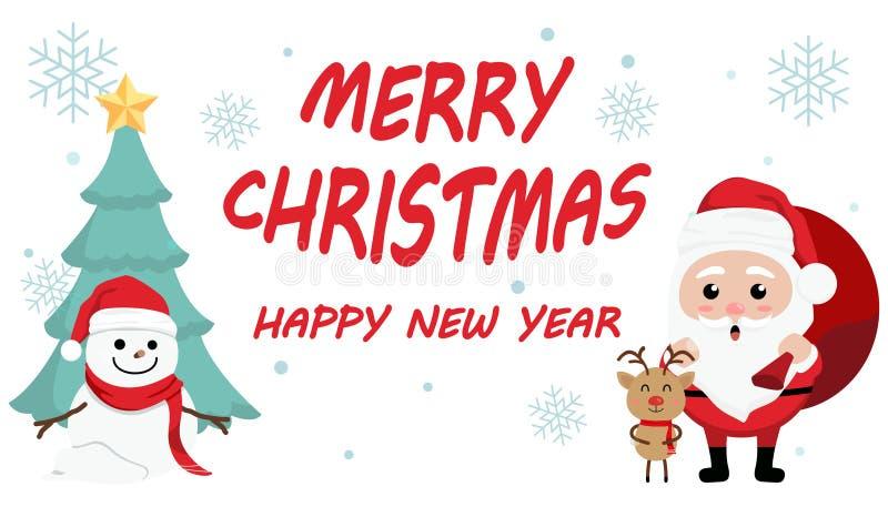 Día de la Navidad lindo de la historieta del carácter, festival de la Feliz Año Nuevo de la Feliz Navidad, Papá Noel con la caja  ilustración del vector