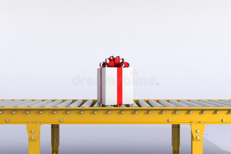 Día de la Navidad y de Año Nuevo, caja de regalo con la cinta roja en la línea del transportador aislada en un fondo blanco imagen de archivo